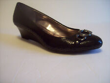 New CALVIN KLEIN BIANCA women's black mid heel wedge dress shoes US Sz 9M BEAUTY