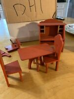 Vintage  Primitive Style wood table  Chairs & Desk maybe hand made DH1