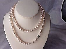 "STUNNING  34"" LONG  AUTHENTIC TIFFANY & CO 8.5 AKOYA PEARL NECKLACE"