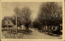 Springvale ME Down Mill St. From Paine c1910 Postcard