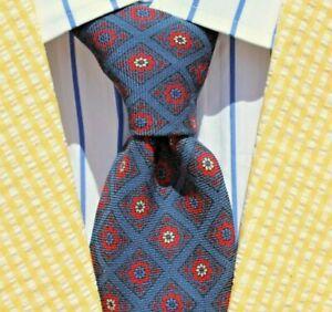 Andhurst Vintage Blue, Red & White Floral English Hand-Blocked Wool Challis Tie