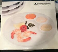 Trudeau Set of 4 White Round Accent Fondue Plates, 10 inch, 5 Sections New