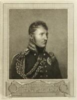 T.BLOOD(19.Jh), Büstenporträt d Friedrich Wilhelm III.(1770-1840), Punktierstich