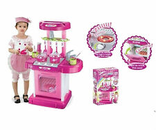 """26"""" Portable Kitchen Appliance Oven Cooking Play Set With Lights & Sound Pink"""
