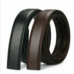 Mens Leather Belt Strap Ratchet Automatic Waistband No Buckle only Strap