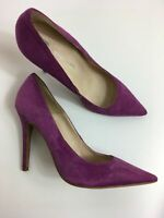 WOMENS RIVER ISLAND PURPLE SUEDE SLIP ON HIGH HEEL COURT SHOES SANDALS UK 6