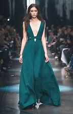 ROBERTO CAVALLI Teal Plunging Low Cut Open Back Dress Gown 38 2