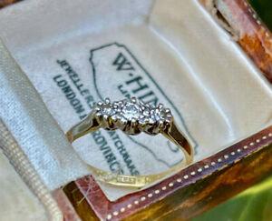 18ct Yellow Gold & Platinum Vintage Diamond Trilogy Ring  SIZE K
