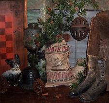 Primitive Antique Style Christmas Santa's Reindeer Feed Sack Burlap Seed Bag