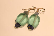 Greenwood Designs 14k gf Gold Drop Recycled Glass Aventurine Dangle Earrings