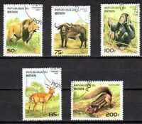 Animaux Faune sauvage Bénin (62) série complète 5 timbres oblitérés