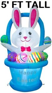 5' FT EASTER BUNNY IN BASKET OF  EGG AIRBLOWN INFLATABLE LED LIGHTED YARD DECOR