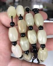 Men Women 12x16mm Natural Bean cyan Jasper Braided Macrame Beads Bracelet Adjust