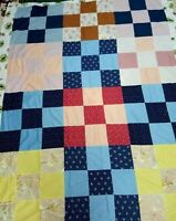 """Quilt Top 73"""" X 92"""" Large 9-patch Pattern Machine Stitched New Fabric blue & tan"""