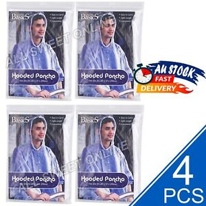 4pcs Reusable Emergency Hooded Poncho Raincoat Clear One Size Fits All Camping
