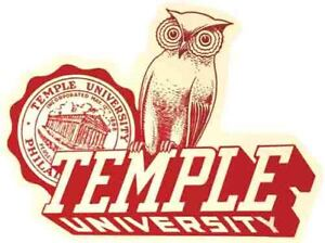 Temple   University   Owls  Vintage Looking  Travel Decal  Sticker   College