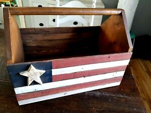 """USA Flag Tool Caddy Style Rustic Wood Storage Box ~ Large 19.5"""" Patriotic Décor"""