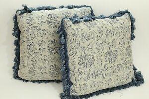 Pair of French Blue Fringe Edge High End Ballifibre Decorator Pillows