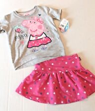 Peppa Pig Short Sleeve Gray Top & Polka Dot Skirt Outfit Toddler Girl 3T NEW