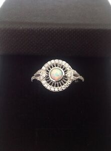 Art Deco Gilson Opal Cz Sterling Silver openwork Ring October Birthstone Size M