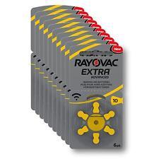60x Hörgerätebatterie Typ 10 / Gelb Rayovac extra advanced - MHD_2022 #R10