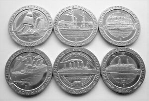 COMPLETE SET OF 6 x 1988 BICENTENARY OF STEAM NAVIGATION ISLE OF MAN CROWNS
