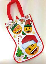 NEW Santa & Elf Smiley Face EMOJI Christmas Stocking GIFT BAG Candy Tote Plastic