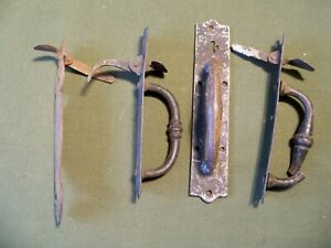 4 Antique primitive hand forged iron thumb latch door handle, pre 1850