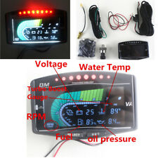 6 In 1 Functional LCD Oil Pressure Gauge with Turbo Boost/Water Temp/Tachometer