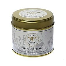 Bea Loves Natural Scented Soy Wax & Pure Beeswax 250g Candle Tin: Geranium Rose