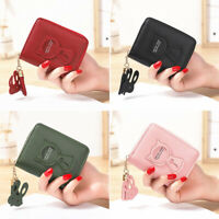 Women Wallet Small Zipper PU Leather Card Holder Coin Purse Mini Bag Handbag