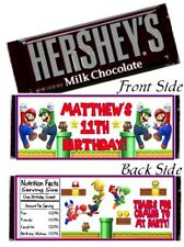 12 Super Mario Brothers Birthday Party Candy Hershey Bar Wrappers Bros Luigi