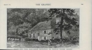 1881 PRINT BURIAL PLACE WILLIAM PENN MEETING HOUSE AND GRAVEYARD  RUSCOMBE S13