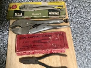 Old Hand Tools With Original Boxes.Crescent Brand pliers . Genuine Mole Grips