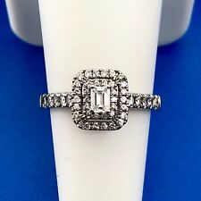 Zales 14K White Gold Diamond Solitaire Double Halo Accents Engagement Ring
