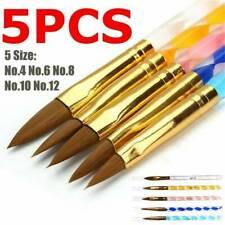 5 X Acrylic Brush Set Nail Art UV Gel Polish Cuticle Pusher Size 4 6 8 10 12