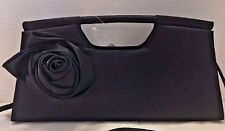 Minicci Black Satin Evening Clutch Handbag with Strap Small NWT