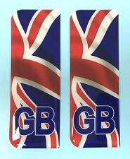 2 x Waving Union Jack GB Vehicle Number Plate Stickers - HIGH GLOSS DOMED GEL