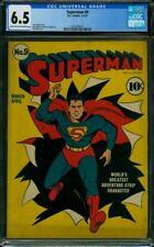 Superman #9 CGC 6.5 DC 1940 Ad for All Star Comics #1! Action! JLA! K4 221 cm
