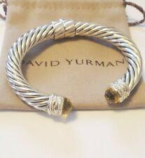 David Yurman Sterling Silver 10mm Crossover Bracelet Lemon Citrine & Diamonds
