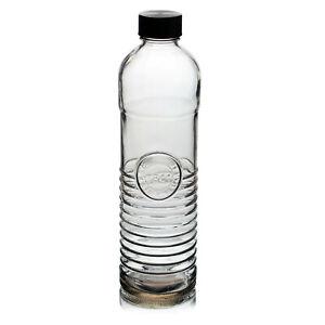 Urban Living 1 Litre Clear Glass Assorted Design Milk Water Drinking Bottle