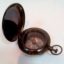 COLLECTIBLE VINTAGE BRASS PUSH BUTTON ANCHOR POCKET COMPASS MARITIME GIFT