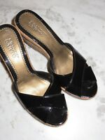 franco sarto black patent leather peep toe cork wedge sandals size 8M