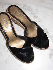 franco sarto black patent leather peep toe cork wedge sandals size 8M