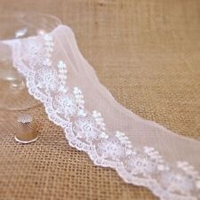 """laverslace Ivory Cut Out Embroidered Tulle Lace Trim 2.5/""""// 6.25 cm Wedding Craft"""