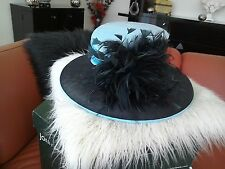 Turquoise and black hat by John Lewis  with hat box