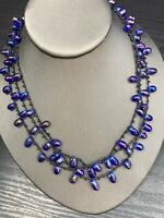 Vintage Bib Statement Necklace Cobalt Glass Beaded Woven Chain Silver 16""