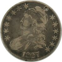 1827 50C CAPPED BUST SILVER HALF DOLLAR  FINE / VF DETAILS (holed)  (092420)