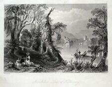 INNISFALLEN, LOUGH LEANE, LAKES OF KILLARNEY, IRELAND antique print c1840