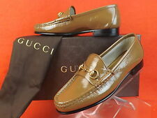 NIB GUCCI LIGHT BROWN FRAME 1953  PATENT LEATHER GOLD HORSEBIT LOAFERS 34 4 $575